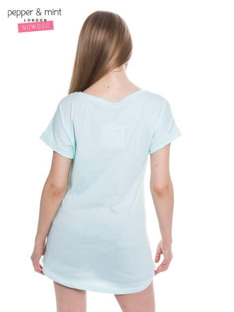 Miętowy t-shirt z nadrukiem ptaszka w klatce                                  zdj.                                  4