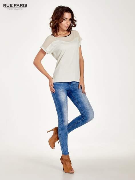 Miętowy t-shirt z siateczkową górą i kontrastową lamówką                                  zdj.                                  2