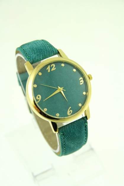Miętowy zegarek damski z imitacją jeansu na skórzanym pasku