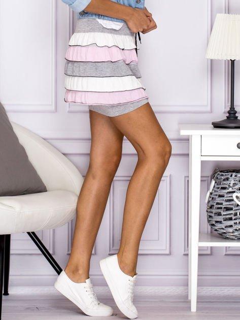 Mini spódnica z falbankami szara                                  zdj.                                  5
