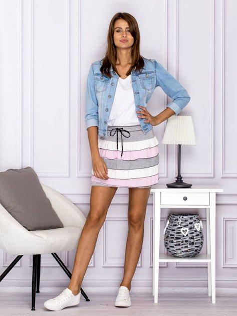 Mini spódnica z falbankami szara                                  zdj.                                  4