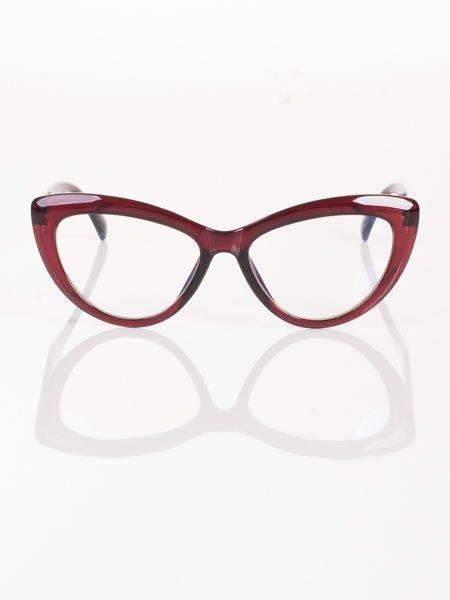 Modne okulary zerówki KOCIE OCZY w stylu Marlin Monroe- soczewki ANTYREFLEKS+system FLEX na zausznikach                              zdj.                              1