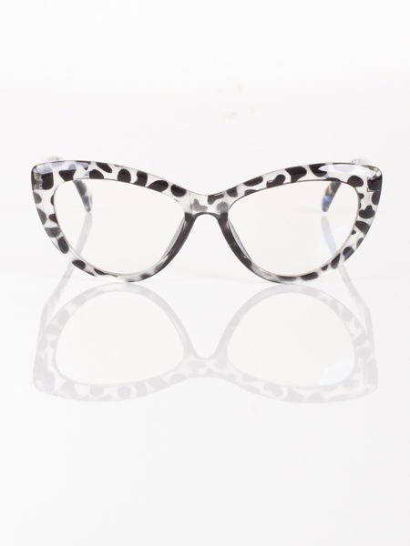 Modne okulary zerówki leopard typu KOCIE OCZY w stylu Marlin Monroe;soczewki ANTYREFLEKS+system FLEX na zausznikach                              zdj.                              3