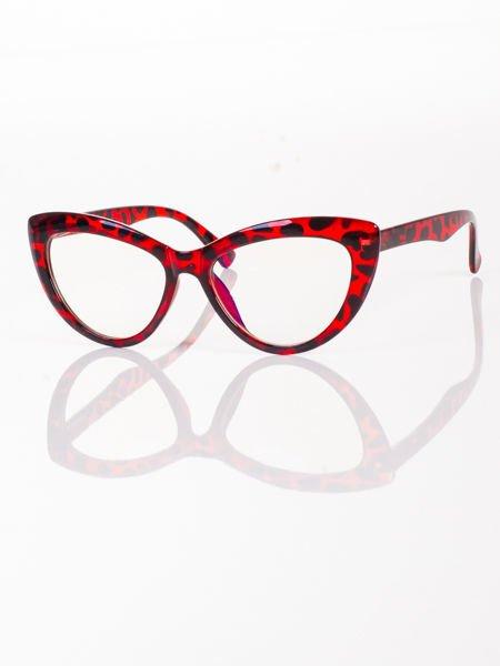 Modne okulary zerówki typu KOCIE OCZY w stylu Marlin Monroe; soczewki ANTYREFLEKS+system FLEX na zausznikach                                  zdj.                                  2