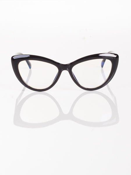 Modne okulary zerówki typu KOCIE OCZY w stylu Marlin Monroe- soczewki ANTYREFLEKS+system FLEX na zausznikach                                  zdj.                                  1