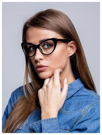 Modne okulary zerówki typu KOCIE OCZY w stylu Marlin Monroe- soczewki ANTYREFLEKS+system FLEX na zausznikach                              zdj.                              2