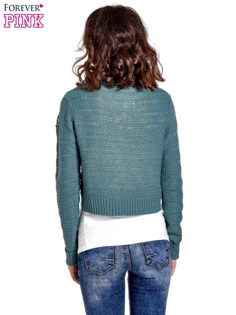 Morski krótki sweter narzutka z kołnierzem                                  zdj.                                  4