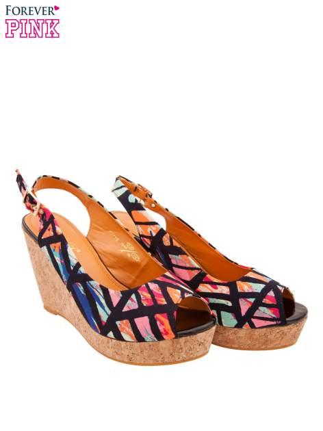 Multikolorowe sandały peep toe na koturnie korku                                  zdj.                                  2