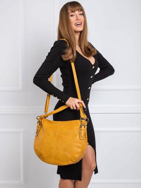 Musztardowa torba damska ze skóry ekologicznej