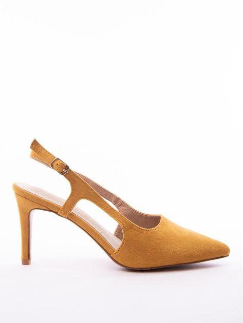Musztardowe sandały Sabatina z noskiem w szpic bez pięty                              zdj.                              1