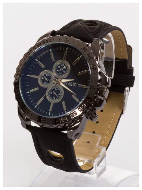 N&K Zegarek męski. Duża tarcza z ozdobnym tachometrem, opalizujące szkiełko oraz oryginalny pasek z wycięciami                                  zdj.                                  1