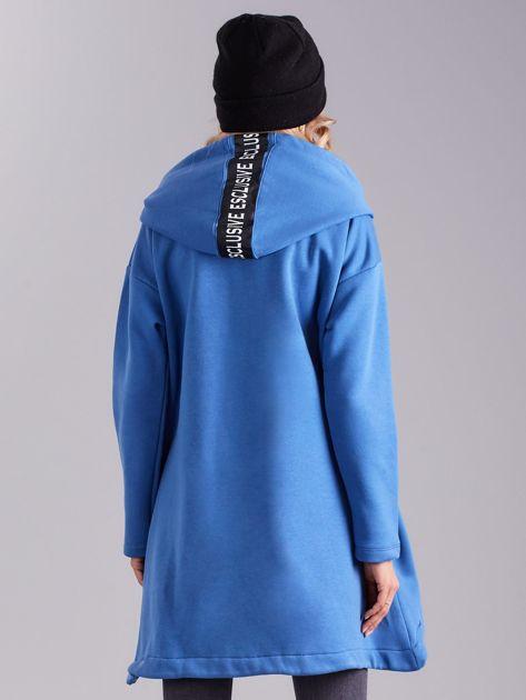 Niebieska asymetryczna bluza z kapturem                              zdj.                              2