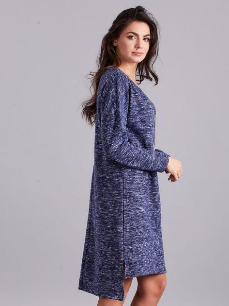 Niebieska asymetryczna sukienka z aplikacją                              zdj.                              3