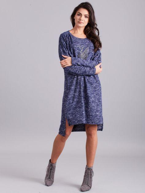 Niebieska asymetryczna sukienka z aplikacją                              zdj.                              4