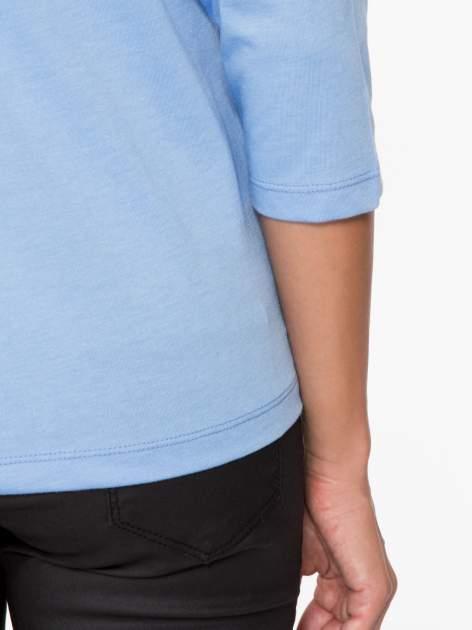Niebieska basicowa bluzka z rękawem 3/4                                  zdj.                                  9