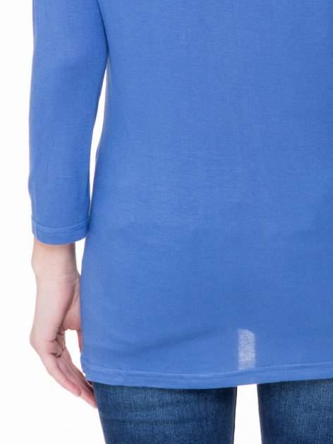 Niebieska basicowa gładka bluzka z rękawem 7/8                                  zdj.                                  6