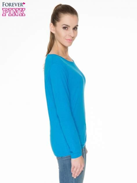 Niebieska bawełniana bluzka z gumką na dole                                  zdj.                                  3