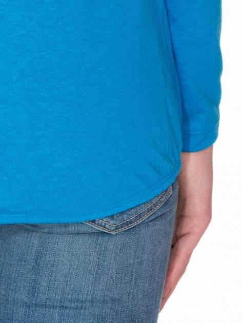 Niebieska bawełniana bluzka z gumką na dole                                  zdj.                                  8