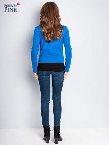 Niebieska bluza o kroju ramoneski z asymetrycznym suwakiem                                  zdj.                                  8