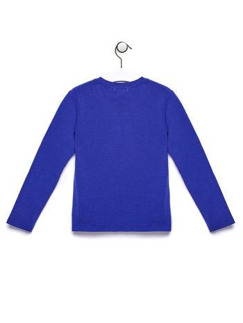 Niebieska bluzka chłopięca z  kolorowym nadrukiem