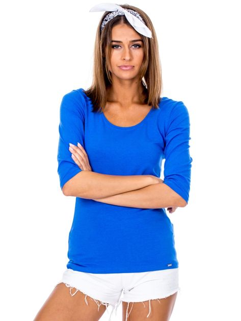 Niebieska bluzka damska basic                              zdj.                              1