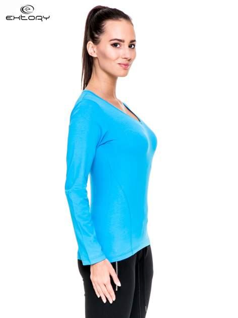 Niebieska bluzka sportowa z dekoltem V                                  zdj.                                  4