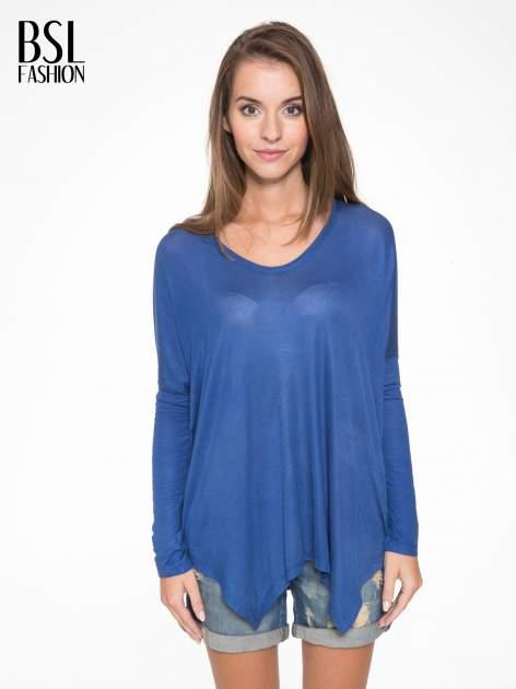 Niebieska bluzka z asymetrycznym cięciem na dole                                  zdj.                                  1