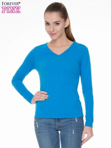 Niebieska bluzka z długim rękawem z bawełny