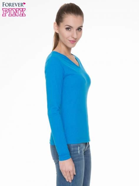 Niebieska bluzka z długim rękawem z bawełny                                  zdj.                                  3