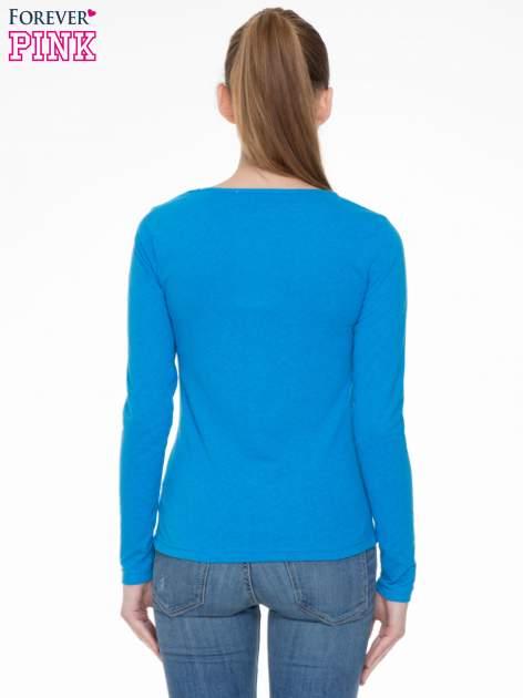Niebieska bluzka z długim rękawem z bawełny                                  zdj.                                  4