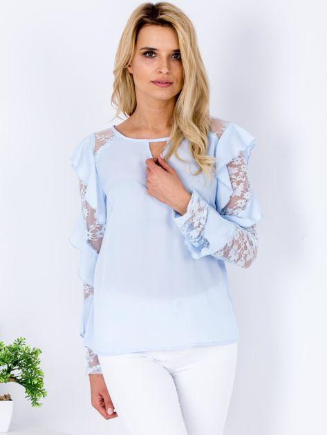 Niebieska bluzka z falbanami i koronkowymi rękawami                                  zdj.                                  1