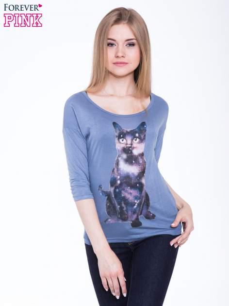 Niebieska bluzka z nadrukiem kota z efektem galaxy                                  zdj.                                  1