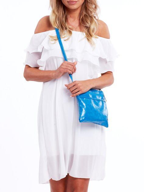 Niebieska błyszcząca torebka listonoszka                              zdj.                              4