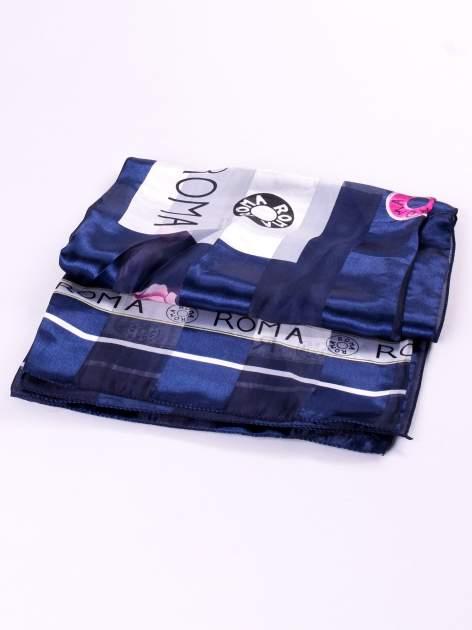 Niebieska chusta apaszka z nadrukiem ROMA                                  zdj.                                  3