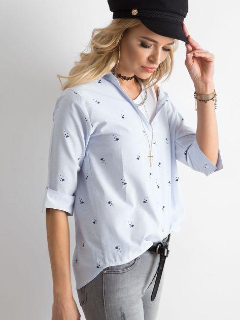 Niebieska damska koszula w paski                              zdj.                              3