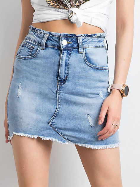 Niebieska damska spódnica jeansowa                              zdj.                              1