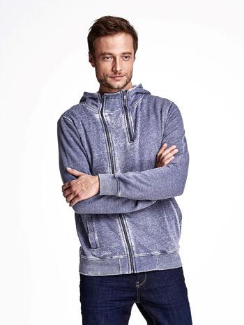 Niebieska dekatyzowana bluza męska z asymetrycznymi suwakami                                  zdj.                                  1