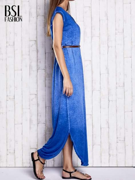 Niebieska dekatyzowana sukienka maxi                                  zdj.                                  3