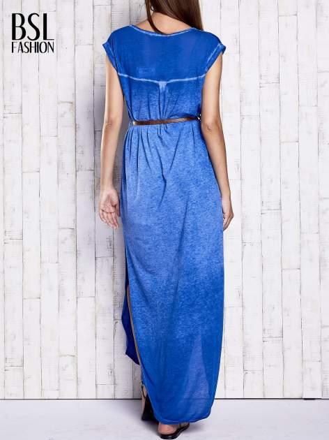 Niebieska dekatyzowana sukienka maxi                                  zdj.                                  2