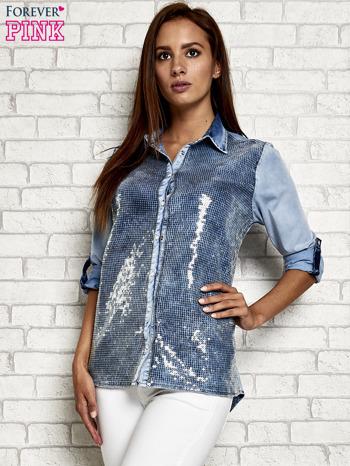 Niebieska denimowa koszula z cekinami                                  zdj.                                  3