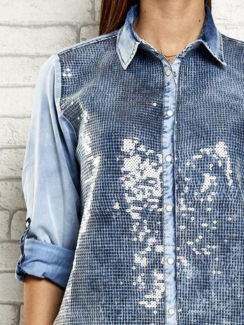 Niebieska denimowa koszula z cekinami                                  zdj.                                  6