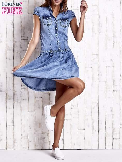 Niebieska denimowa sukienka z obniżonym stanem                                  zdj.                                  8