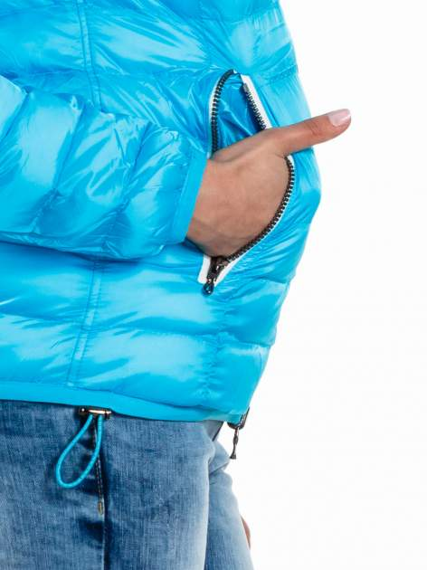 Niebieska dwustronna lekka kurtka puchowa                                  zdj.                                  7
