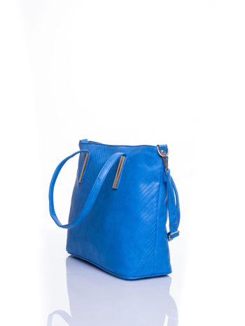 Niebieska fakturowana torba shopper bag                                  zdj.                                  4