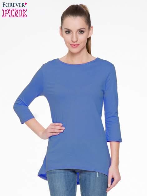 Niebieska gładka bluzka z dłuższym tyłem