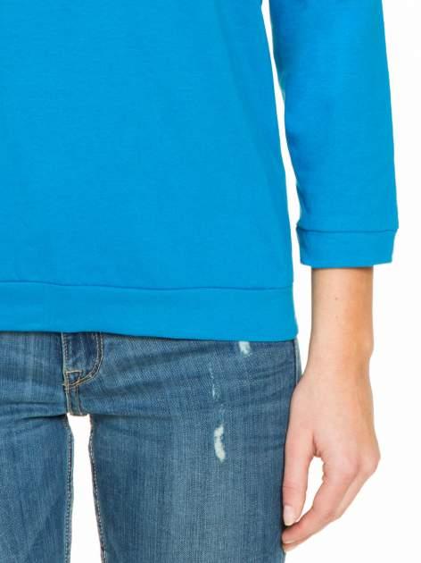 Niebieska gładka bluzka z luźnymi rękawami 3/4                                  zdj.                                  6