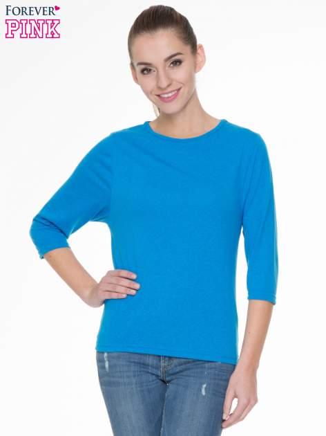 Niebieska gładka bluzka z rękawem 3/4                                  zdj.                                  1