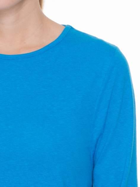 Niebieska gładka bluzka z rękawem 3/4                                  zdj.                                  5