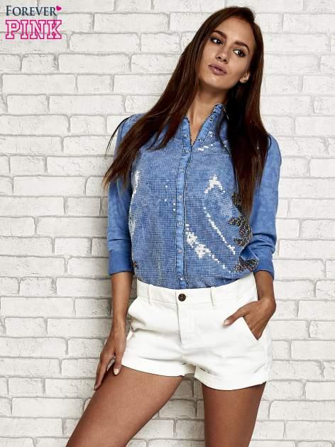 Niebieska jeansowa koszula z cekinami                                  zdj.                                  6