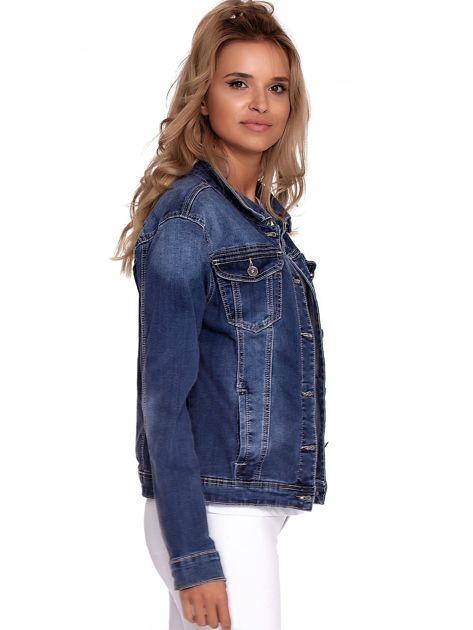 Niebieska jeansowa kurtka z kołnierzykiem PLUS SIZE                              zdj.                              3